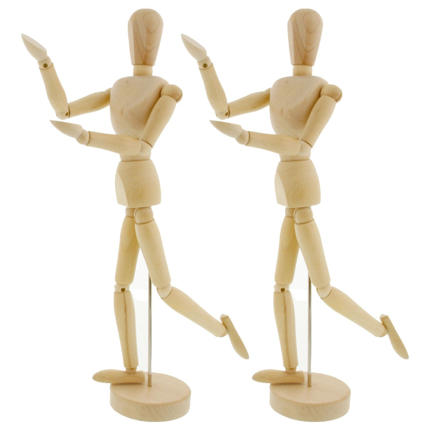 Perfect For Drawing the Human Figure Pack of 2 Manikins US Art Supply Wood 12 Artist Drawing Manikin Articulated Mannequin with Base and Flexible Body 12 Male