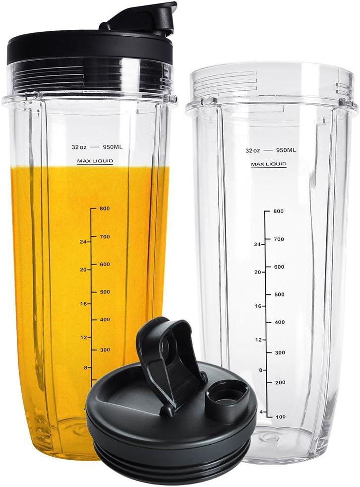 Nutri Ninja 32OZ Replacement Cups,QT 2Packs Nutri Ninja Replacement Cups With Sip & Seal Lids,950ML(32oz) Measuring Scale Cup Mug, FIT FOR Nutri Ninja Auto IQ Series Blenders