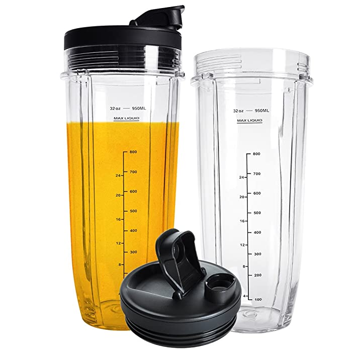 Nutri Ninja 32OZ Replacement Cups,QT 2Packs Nutri Ninja Replacement Cups With Sip & Seal Lids,950ML(32oz) Measuring Scale Cup Mug, FIT FOR Nutri Ninja Auto IQ Series Blenders