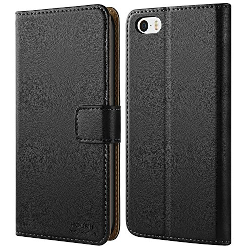 HOOMIL Case Compatible with iPhone SE, Premium Leather Flip Wallet Phone Case for Apple iPhone SE/5S/5 Cover (Black)