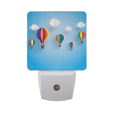 Origami Rainbow Colorful Hot Air Balloon On Blue Sky With White