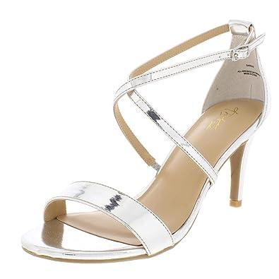 6efa630fa4c5 Thalia Sodi Womens Darria 2 Strappy Evening Dress Sandals Silver 8 Wide (C