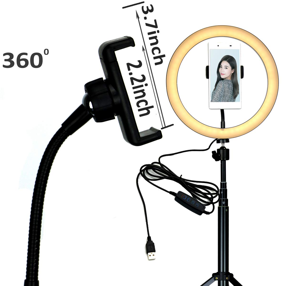 10'' Selfie LED Ring Light with Tripod Stand &Cell Phone Holder Desktop Lamp Mini Led Camera Light for YouTube Video and Live Makeup/Photography by COOSPIDER (Image #4)