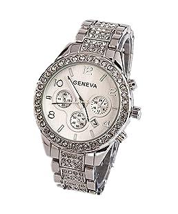 Womens Trendy Date Wristwatch, Balakie Luxury Rhinestone Stainless Steel Band Outdoor Analog Quartz Dress Watch-A164(Silver)