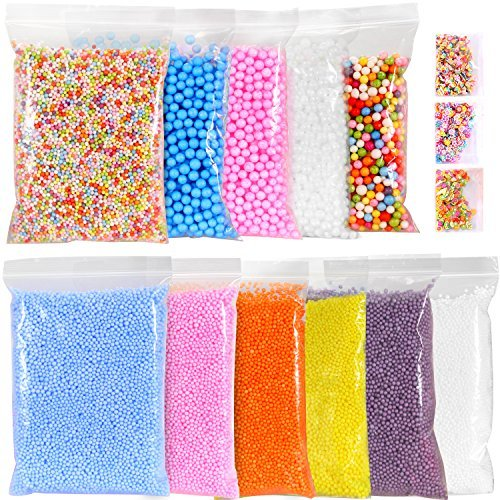 Ohuhu Foam Balls for DIY Slime, 14 Packs Approx 60,000 PCS Decorative Slime Beads For Arts Crafts, Homemade Slime, Fruit Flower Candy Slices for Nail Art Back to School for Student Children Kids Class by Ohuhu