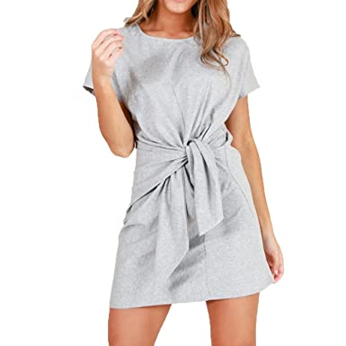 1c52c2398bdf MOLFROA Women s Loose Short Sleeve Round Neck Waist Knotted Short Dress  Juniors Tunic Dresses (S