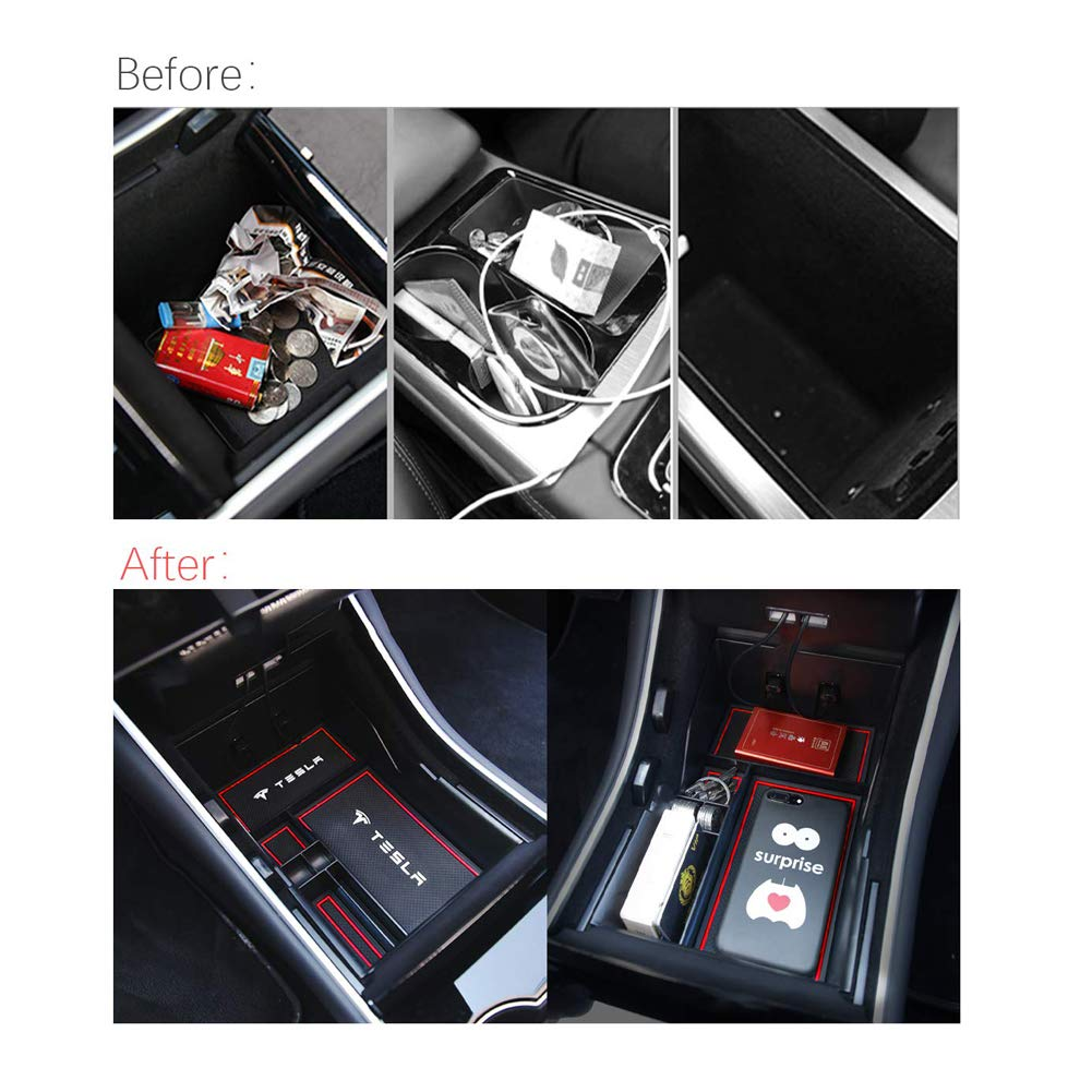 Central Armrest Organiser Storage Box Interior Red LFOTPP Model 3 Centre Console Storage Box