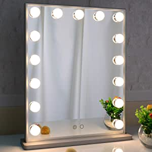 Hollywood Vanity Mirror with Lights,LED Lighted Mirror with 15pcs Dimmable Bulbs,Tabletop or Wall Mounted Dressing Illuminated Beauty Mirror Touch Control and Plug in BEAUTME(Silver)