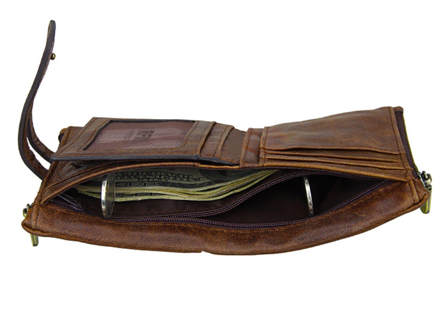 iSuperb Men's RFID Blocking Wallet Bifold Short Purse Multi Card Organizer with Double Zipper (Coffee) by iSuperb (Image #3)