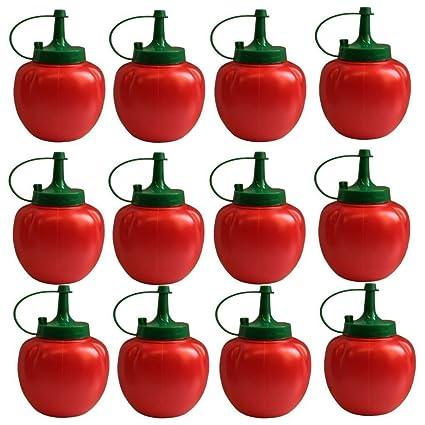 Cr (12 Unidades) para Tomates Ketchup Retro Squeezy Botella – Rojo dispensador de Salsa