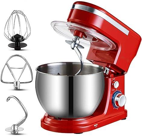 MIJOGO Batidoras Amasadoras, Robot de Cocina, 1500 W, 5 litros, Batido Planetario, 6 Niveles de Velocidad, Recipiente de Acero Inoxidable, Rojo: Amazon.es