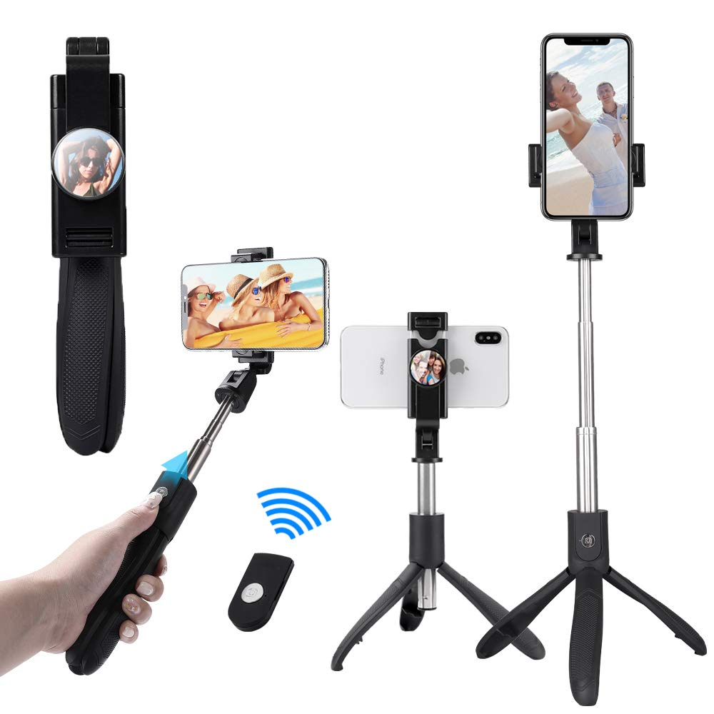[Upgraded] Selfie Stick for iPhone x, Integrated Tripod Extendable Selfie Stick with Detachable Remote and Tripod Stand Selfie Stick with Mirror for iPhone Xs max/XR/X/8/8P/7/7P Galaxy S9/S8/S7 by BitSaint
