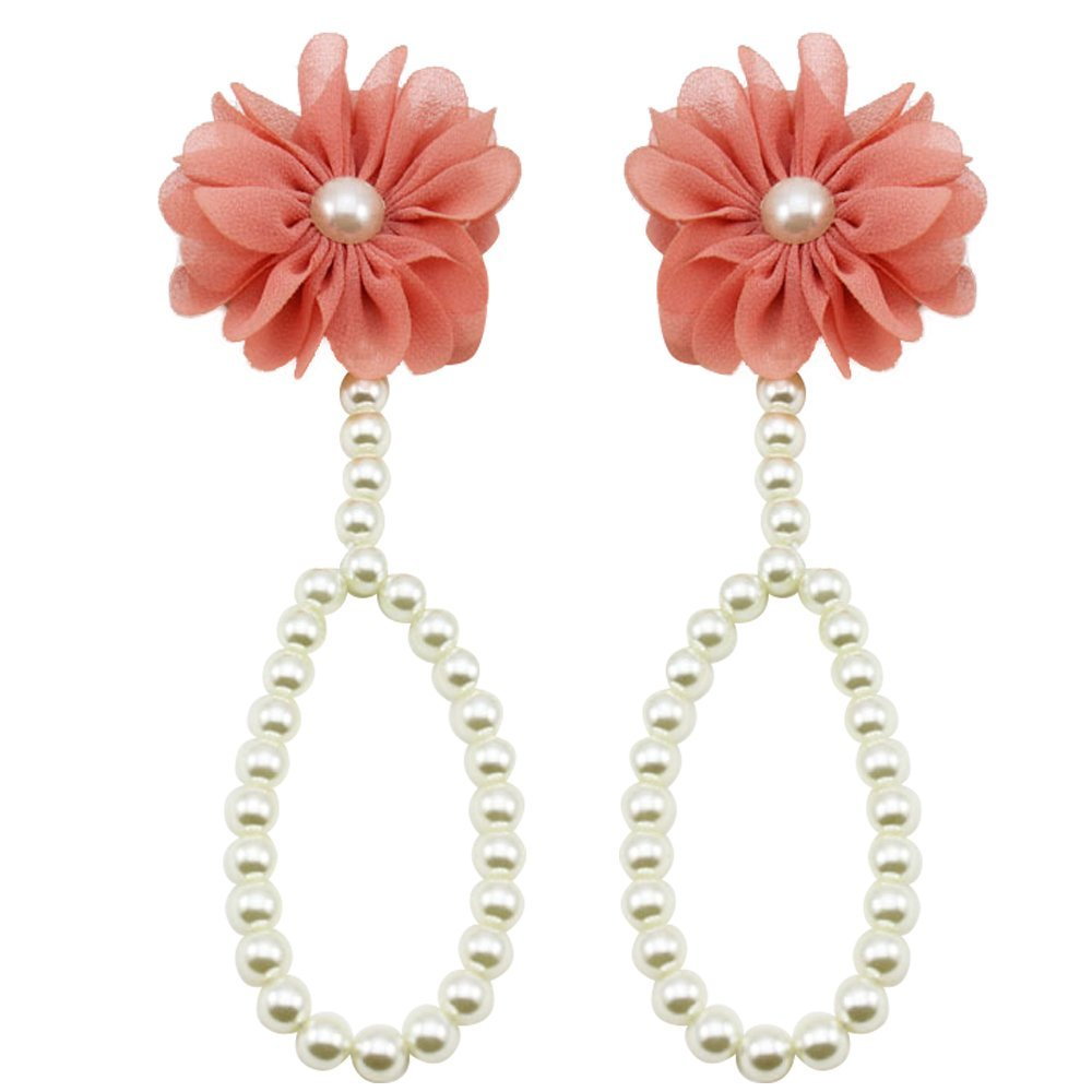 Baby Girl Barefoot Faux Pearl Flower Foot Band Toe Rings Sandals Ankle Chain