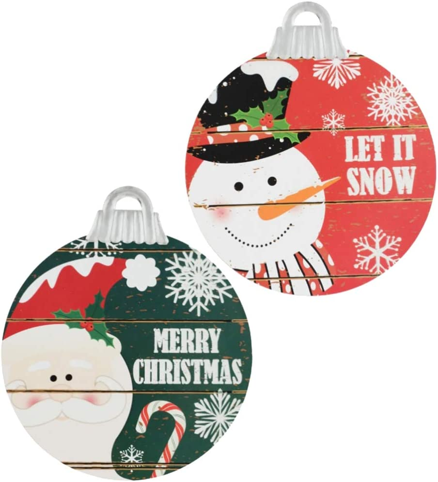 Christmas Holiday Hanging Sign Decor | Decoration for Wall or Door 11 Inches | Ornament Shaped Rustic Look - 2 Pack | Let it Snow & Merry Christmas