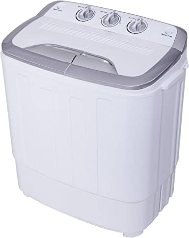 Gray/&White Merax Portable Washing Machine Mini Compact Twin Tub Washer Machine with Wash and Spin Cycle FCC Verification Approved