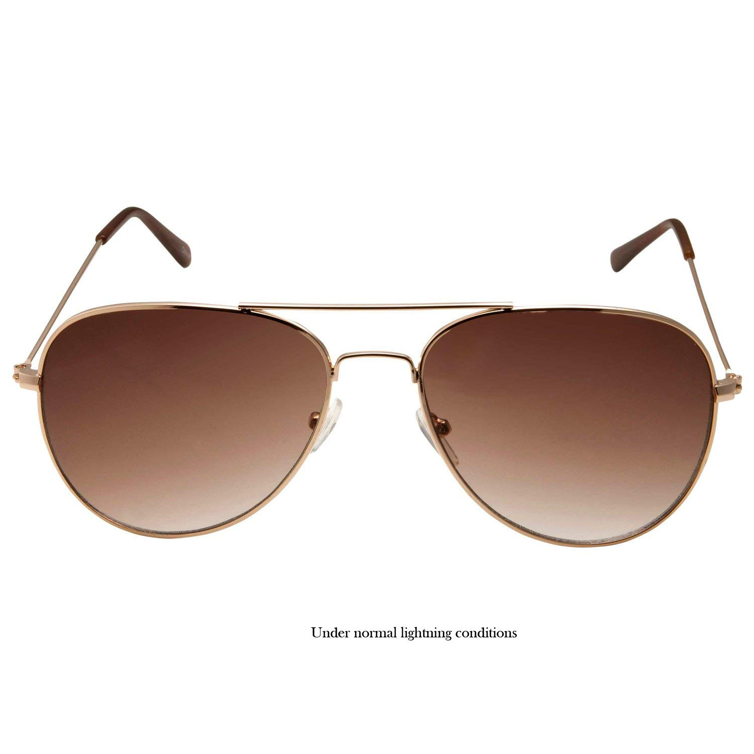 b3711ade30ff4 Amazon.com  SWG Eyewear Metal Classic Aviator Sunglasses in Gold Brown   Clothing
