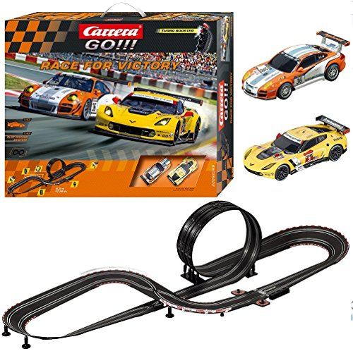 Lane Slot Car Track - Carrera GO!!! Race for Victory Slot Car Race Track Set - 1:43 Scale Analog System - Includes 2 Racing Cars: Porsche and Chevrolet Corvette - 2 Dual-Speed Controllers with Turbo - for Ages 8 and Up
