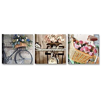 tris bici vintage quadro moderno 3 pannelli componibili 25x25 cm stampa su tela canvas