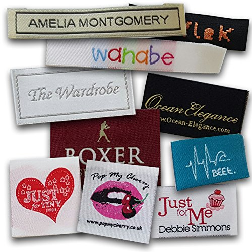 Custom Woven Labels - 100% Woven With Your Logo / Branding. Pre-cut and Folded (1000 Labels, Straight Cut) by Label Weavers
