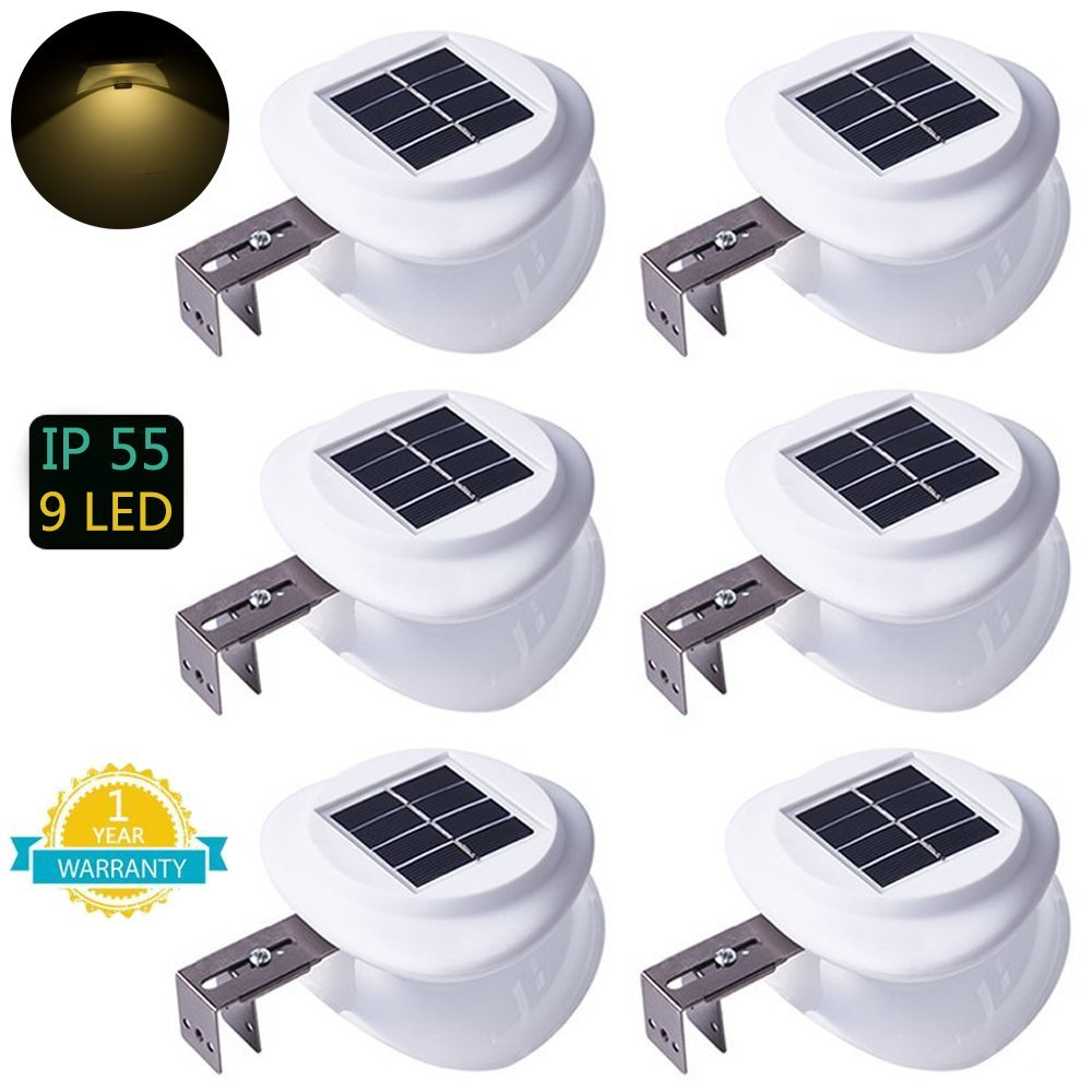 Solar Fence Lights, DS Lighting Outdoor 9 LED Gutter Light Waterproof Security Lamps for Eaves Garden Landscape Walkway (Warm White, 6 Pack) by DS Lighting