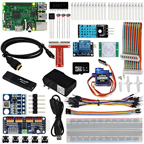 OSOYOO Raspberry Pi 3 IOT Starter Kit The Lastest Complete with RPi3 Model B Controller Board (23 Items)