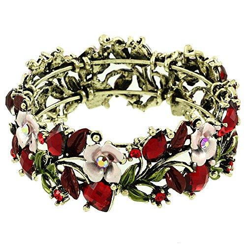 Falari Vintage Flower Bracelet Bangle Crystal Beads Hand-Painted Red BG401-AGRD