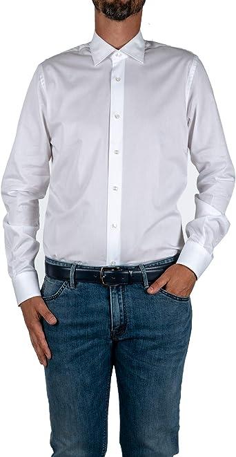 Marcus - Camisa de Hombre by Delsiena Blanca de Puro algodón Moderno Fit Bianco 40 ES: Amazon.es: Ropa y accesorios