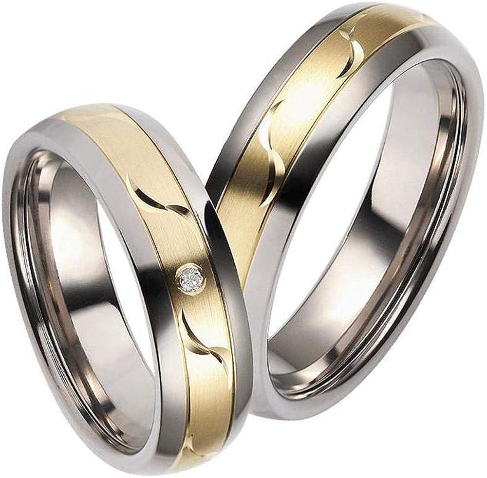 Gratis Gravur Zwei Eheringe Trauringe Verlobungsringe aus Titan gold HH13T