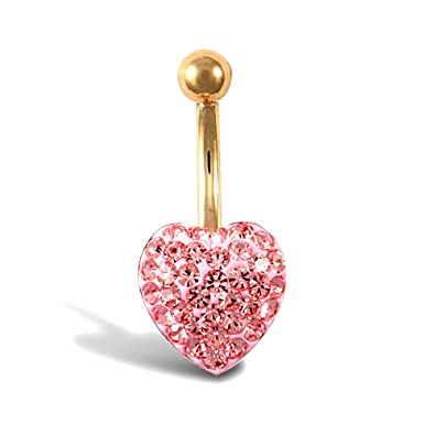 89adc2c48 Jewelco London Ladies 9ct Yellow Gold Baby Pink Round Crystal Love Heart  Banana Belly Bar, 10mm: Amazon.co.uk: Jewellery