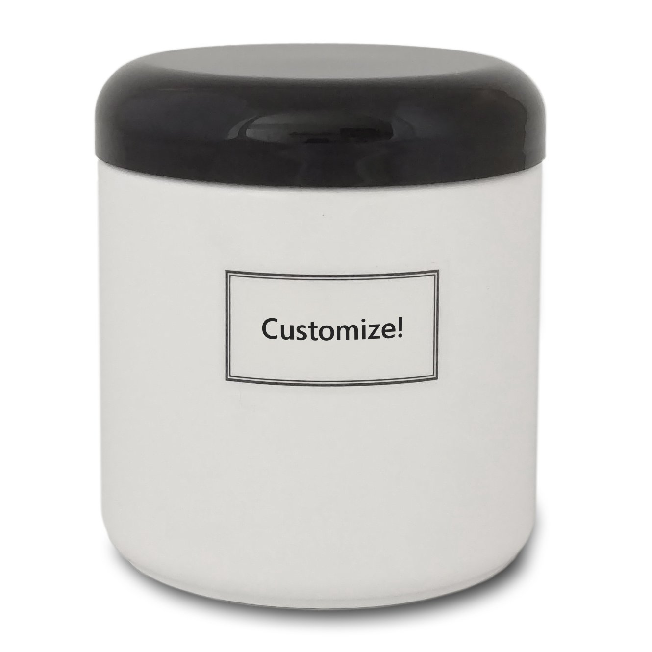 Artanis Home Glass Jar Including Black Dome Lid Customized Waterproof Label, 16 oz, White