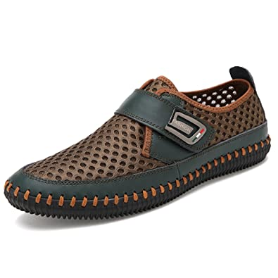 24293eee481f GOMNEAR Men s Mesh Leather Walking Sneaker Slip On Casual Flats Water Shoes  Beach Athletic Quick Drying