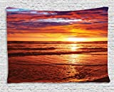 Sunset Tapestry Beach Hawaiian Decorations by Ambesonne, Dramatic Picture of Over Sunlight Reflection on Sea Evening View, Bedroom Living Room Dorm Art Wall Hanging, 60 X 40 Inches, Orange Brown
