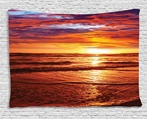"""Ambesonne Hawaiian Tapestry, Dramatic Picture of Sunset Over Beach Sun Rays Reflection on Sea Evening View, Wide Wall Hanging for Bedroom Living Room Dorm, 80"""" X 60"""", Orange Yellow"""