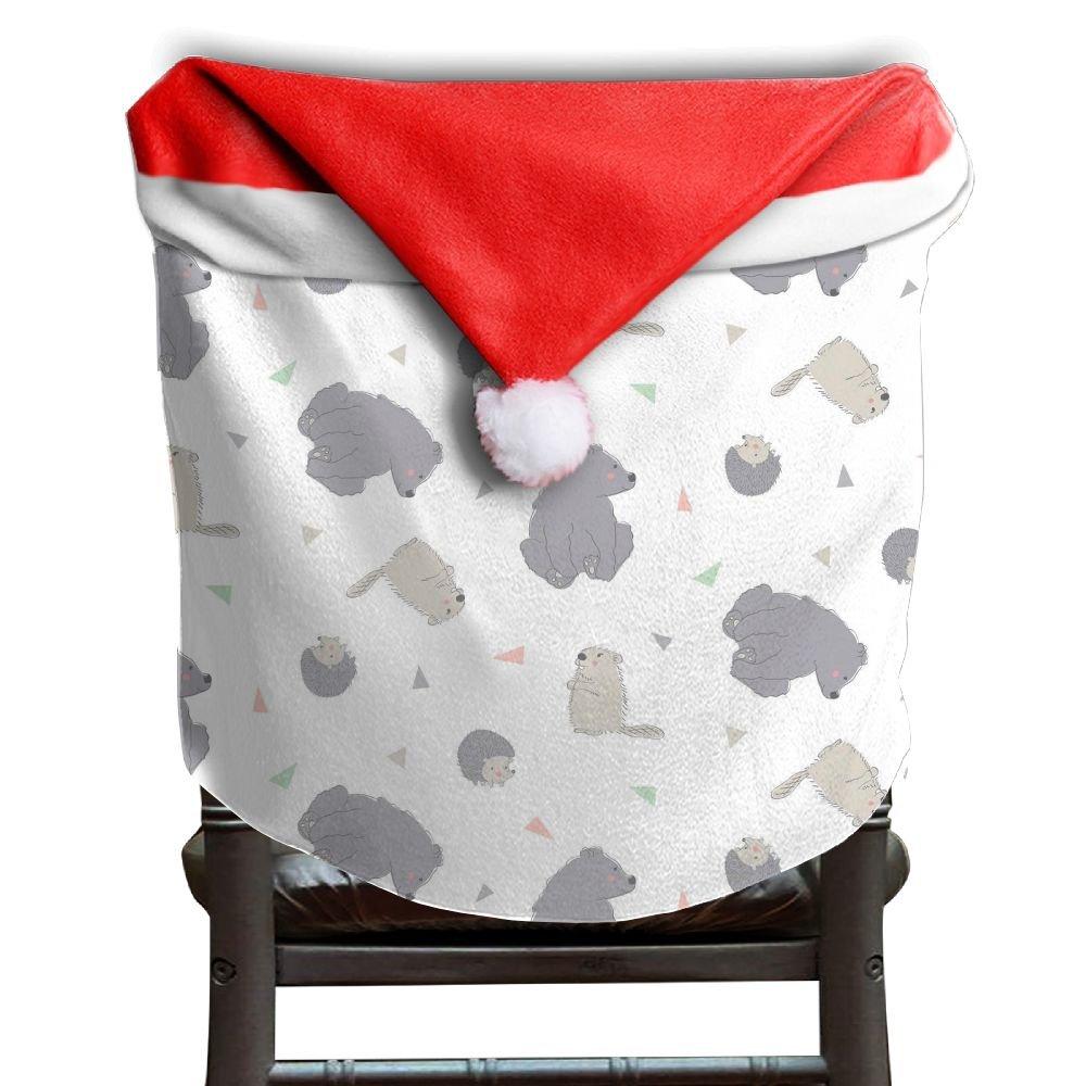 Hedgehog Animals Christmas Chair Covers Sleek Red Chair Covers For Christmas For Adult Chair Back Covers Holiday Festive