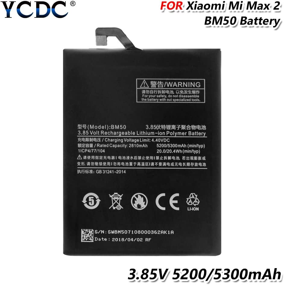 5300mAh Original Battery BM50 for Xiaomi Mi Max 2 Max2 Cell Phone Replacement