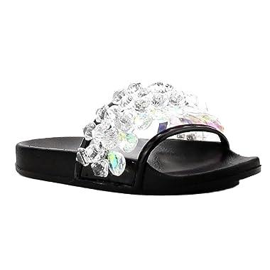 CAPE ROBBIN Moira-63 Rhinestone Crystal Chandelier Slides Flip Flop Sandal Black