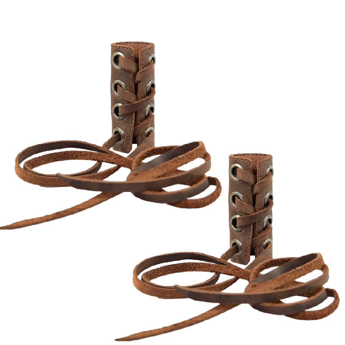 Hide & Drink, Leather Hair Ties (2 Pack) / Ponytail / Braid Holder / Wraps / Long Hair Accessories, Handmade Includes 101 Year Warranty :: Bourbon Brown