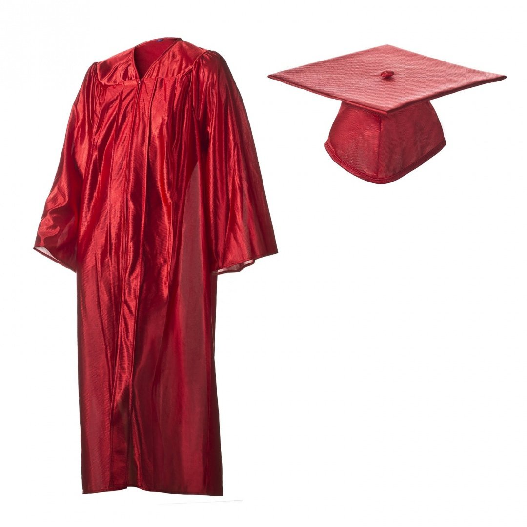 Amazon.com: Graduation Cap and Gown Set Shiny Red in Multiple Sizes ...