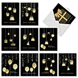 10 'Elegant Event' Birthday Cards with Envelopes - Boxed and Assorted Black Birthday Cards with Beautiful Gold Presents - Classy Cards for Kids and Adults 4 x 5.12 inch AM6723BDG-B1x10