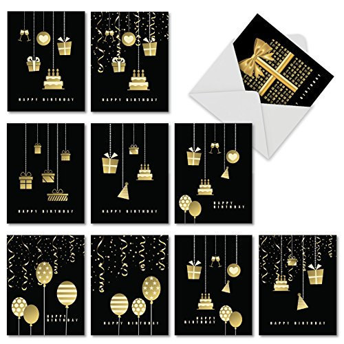 - 10 'Elegant Event' Birthday Cards with Envelopes - Boxed and Assorted Black Birthday Cards with Beautiful Gold Presents - Classy Cards for Kids and Adults 4 x 5.12 inch AM6723BDG-B1x10