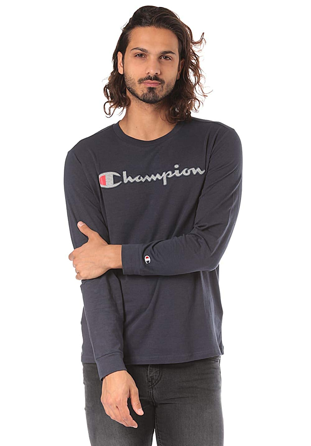 Champion Crewneck Long Sleeve T-Shirt, Uomo 212072