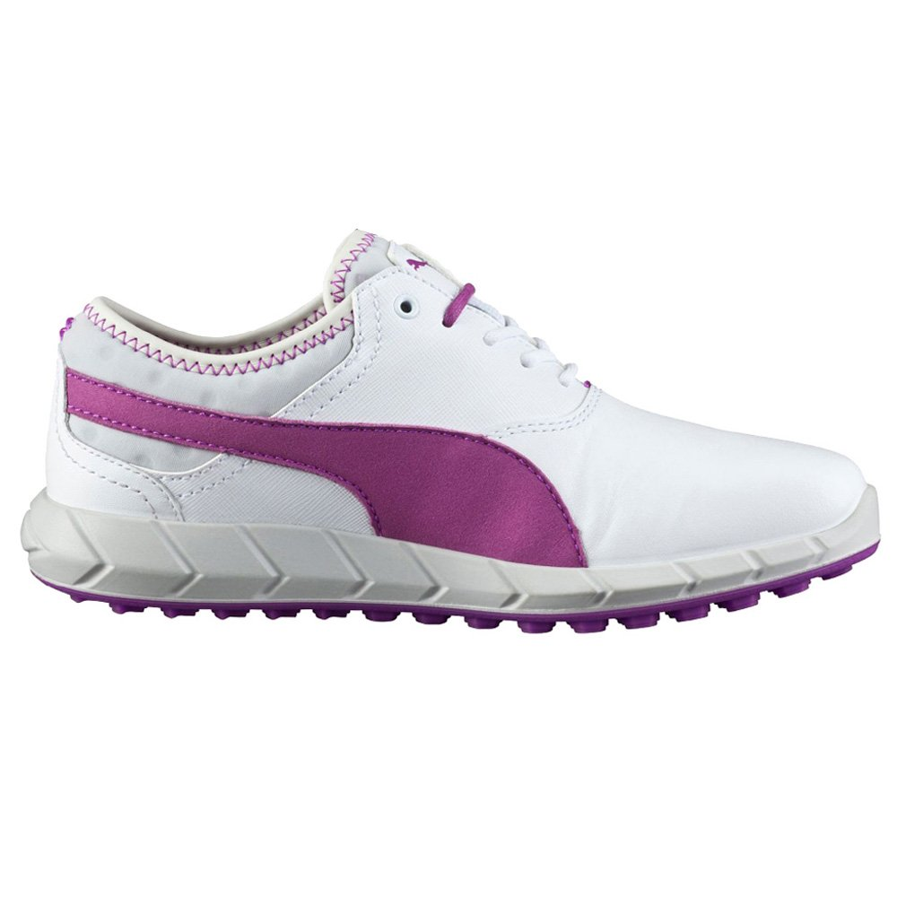 PUMA Women's Ignite Golf Shoe, White/Purple Cactus Flower/Glacier Gray, 6 M US
