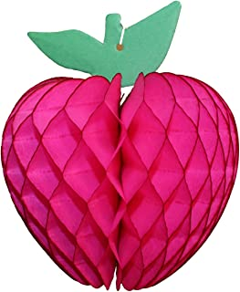product image for 3-Pack 7 Inch Honeycomb Paper Apple Decoration, Cerise