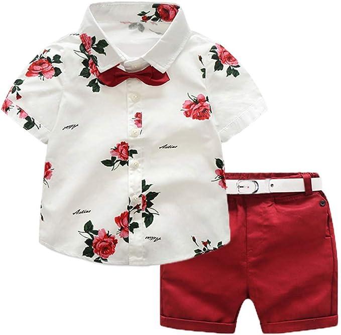 Ropa de Niño Verano Conjunto 4 Piezas 1 Camisa con Rosa + 1 Pantalón Corto Rojo + 1 Pajarita Mona + 1 Cinturón Blanco para Chico de 1-7 Años Boda, Verano, Vacaciones: Amazon.es: Ropa y accesorios