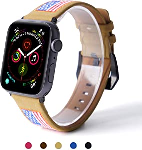 ARTCHE Leather Watch Strap for Apple Watch 42mm 44mm USA Flag Embroidery Replacement Band American Flags Embroidered Stars Stripes Wristband Belt, Compatible with iWatch Series SE/1/2/3/4/5/6, Brown