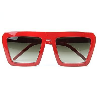 0c120b2ec8 zeroUV - Geometric Bold Flat Top Retro Celebrity Inspired Super Square  Sunglasses (Red)  Amazon.co.uk  Clothing