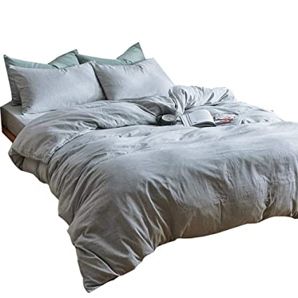 Amazoncom Solid Grey 3 Piece Duvet Cover Set Queen Hotel Quality
