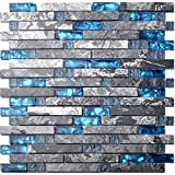 kitchen backsplash ideas Home Building Glass Tile Kitchen Backsplash Idea Bath Shower Wall Decor Teal Blue Gray Wave Marble Interlocking Pattern Art Mosaics TSTMGT002 (1 Sample 12x12 Inches)