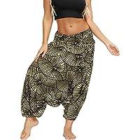 Fansu Pantalones Boho Mujer Verano, Casual Harem Yoga Hippies Bohemio Impreso Desgaste Playa Fiesta