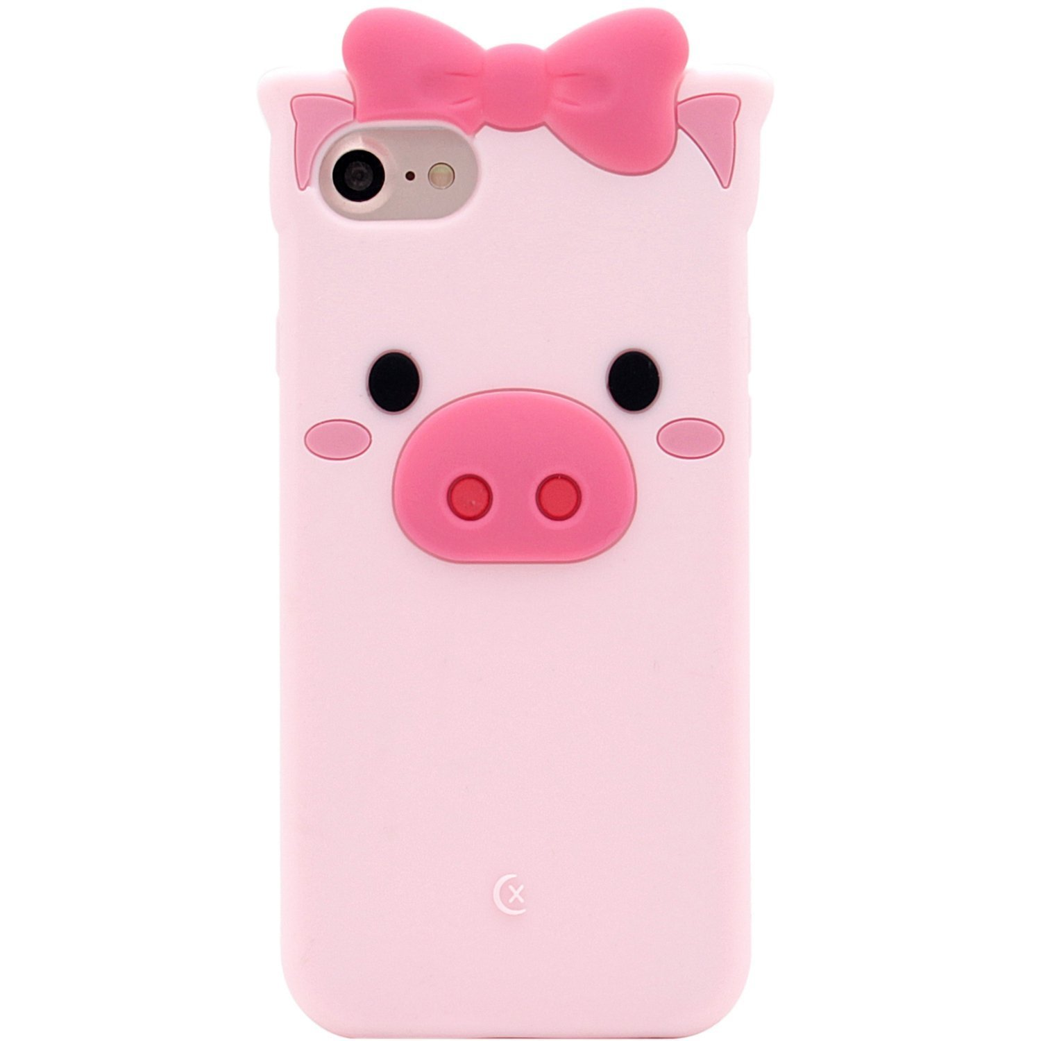 the best attitude d6cd2 12a07 Pink Piggy Phone Case, Anya 3D Silicone Cute Pig Bowknot Cartoon Animals  Soft Protective Slim Rubber Bumper Protective Gel Cover Shockproof Case for  ...